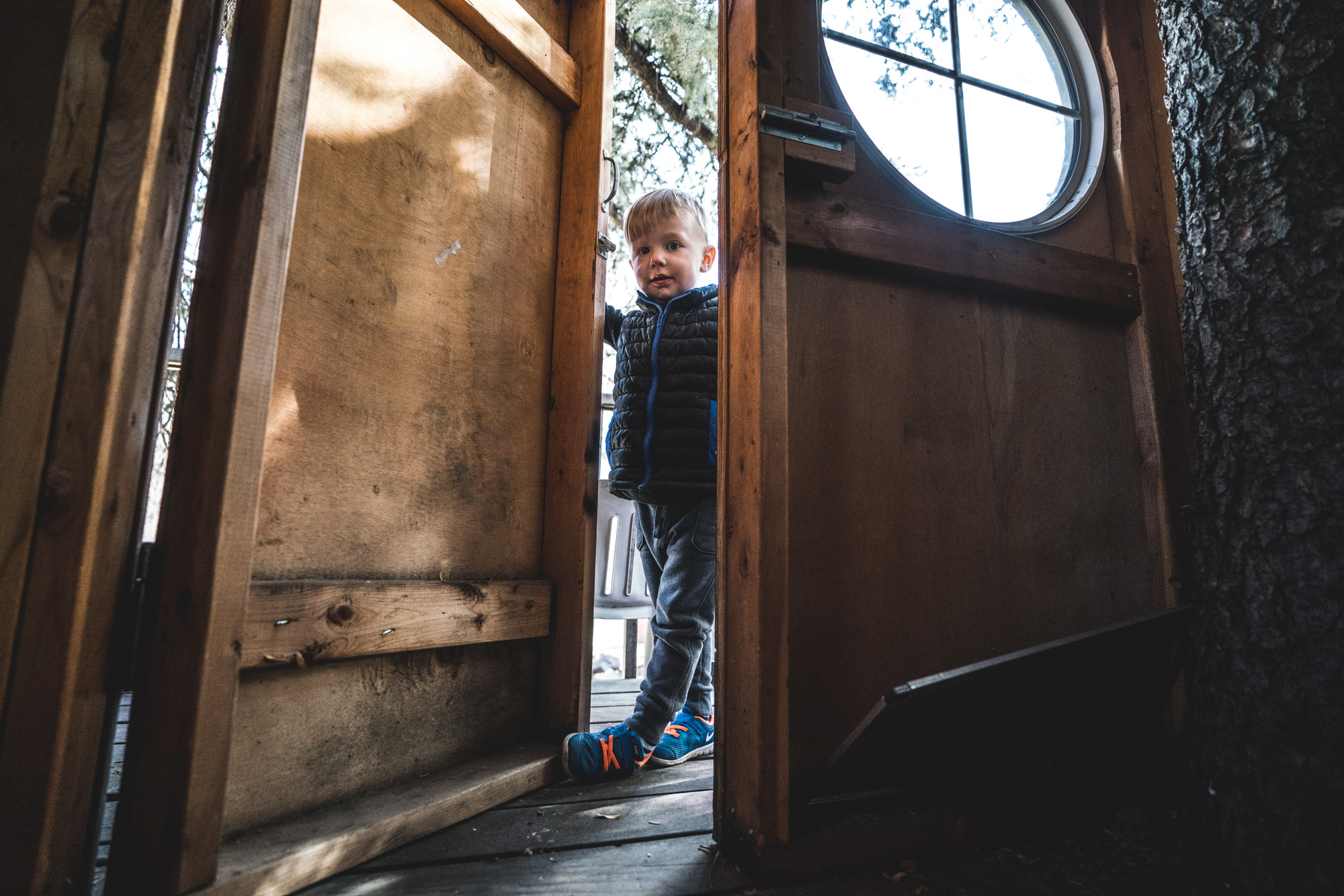 Color photo of a little boy standing in the doorway to the balcony of a tree house during his family's photography session in Park Hill, Colorado