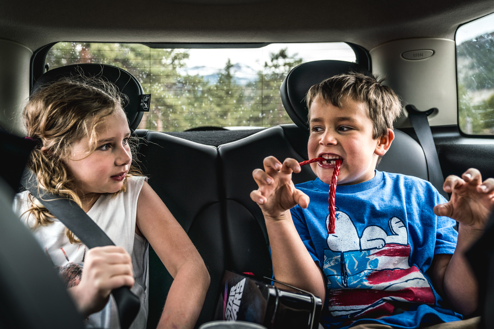 Color photo of a little boy with twizzlers in his mouth like fangs as he growls at his sister who is sitting in the back seat of their car with him.
