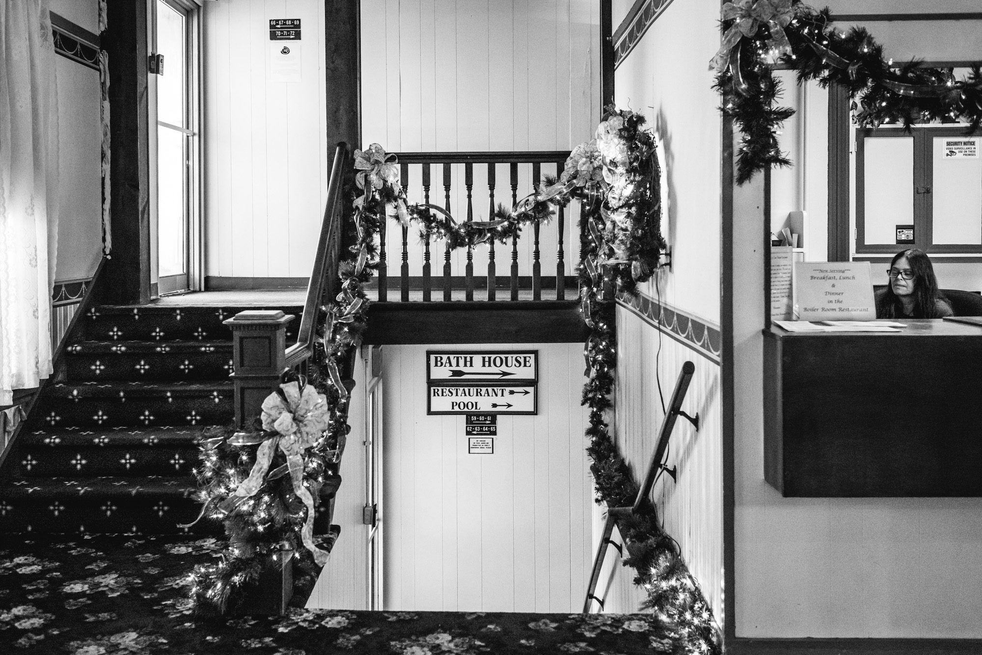 Black and white photo of the interior of the Original Springs Hotel wedding venue