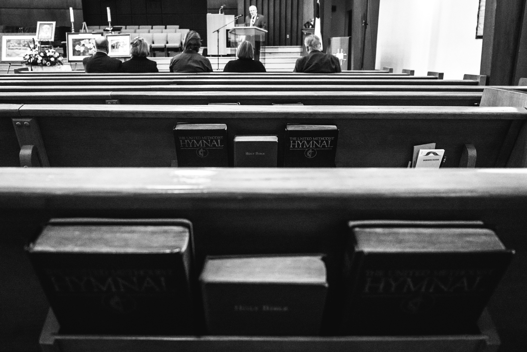 View from the middle row of pews at the Greeley United Methodist Church in Greeley, Colorado during the funeral service for Barbara Richard