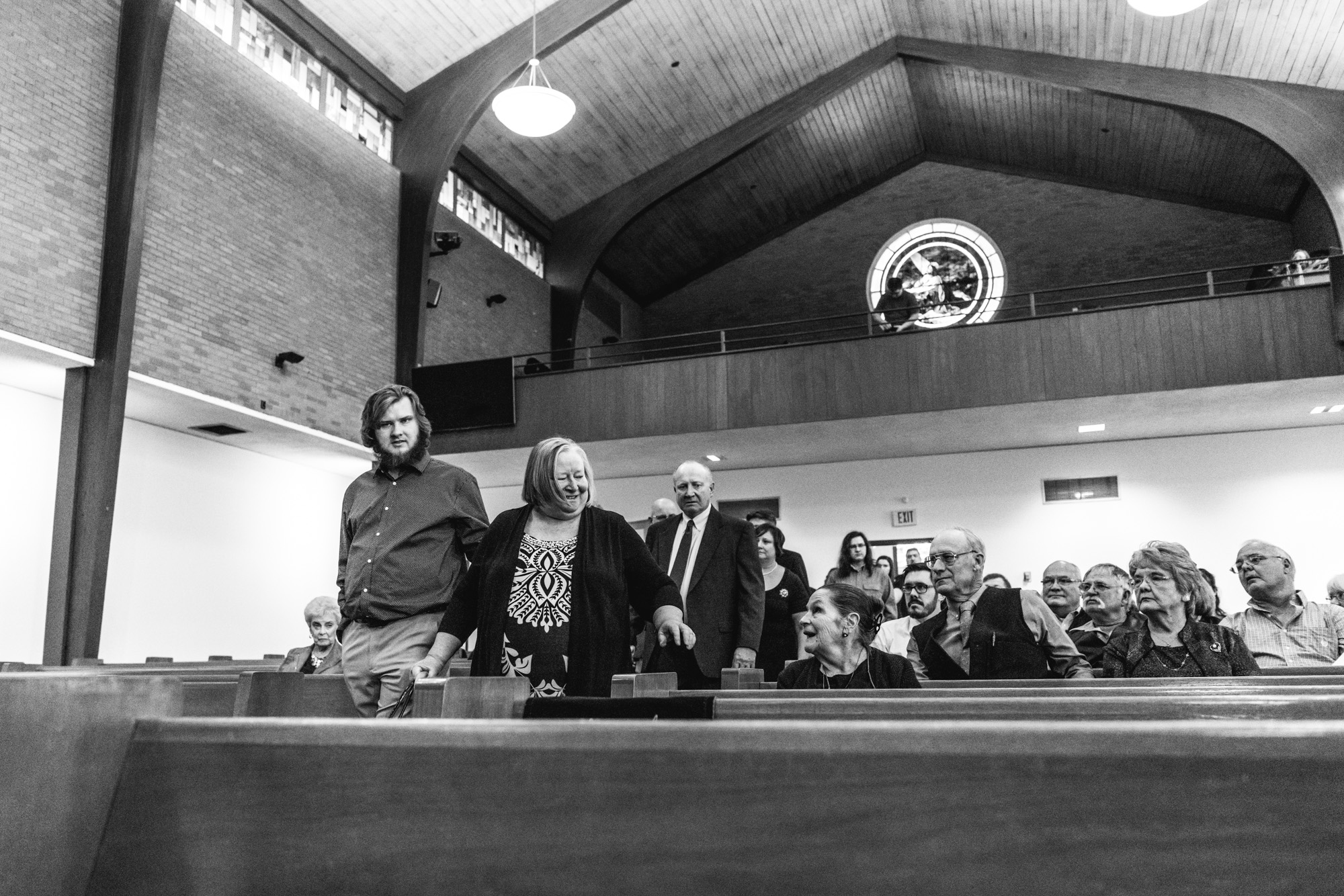 The immediate family of Barbara Richard enters the church to begin Barbara's funeral service at the Greeley United Methodist Church in Greeley, CO