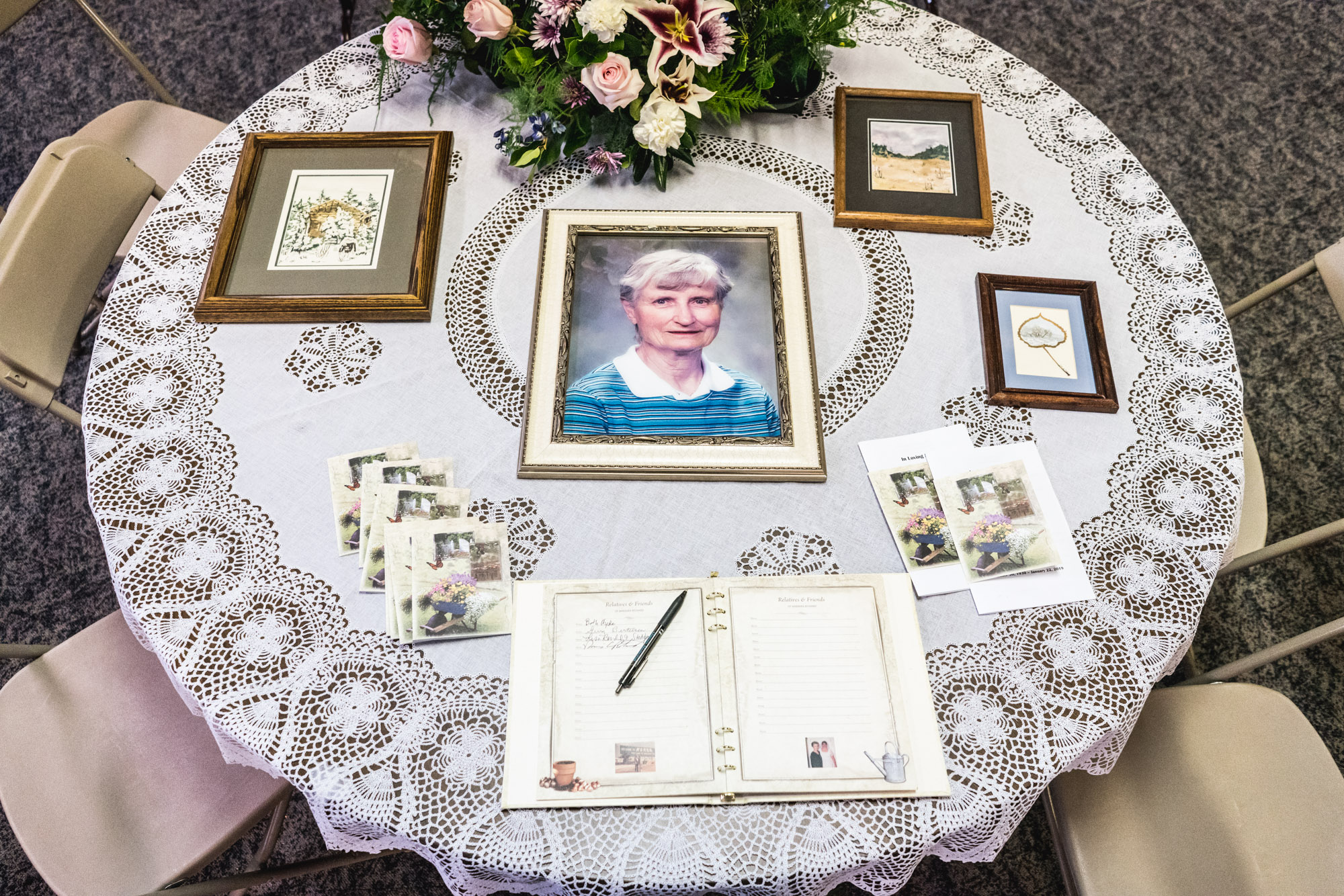 Photo of Barbara Richard on a table during her memorial service in Greeley, Colorado