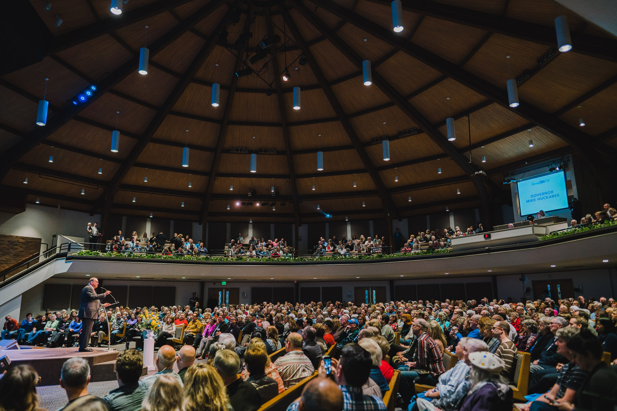 Photo: Gov. Mike Huckabee addresses a packed house at Peoples Church on January 21 for Speak Life! in Salem, Oregon