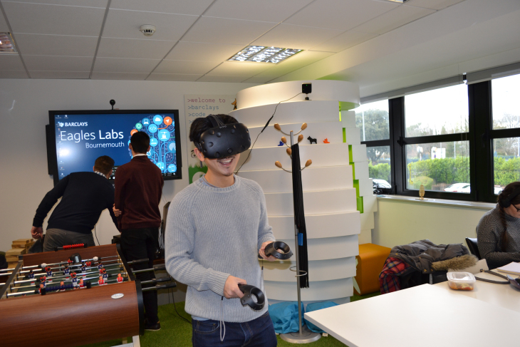 Writer Geoff having a go on some of the latest VR software