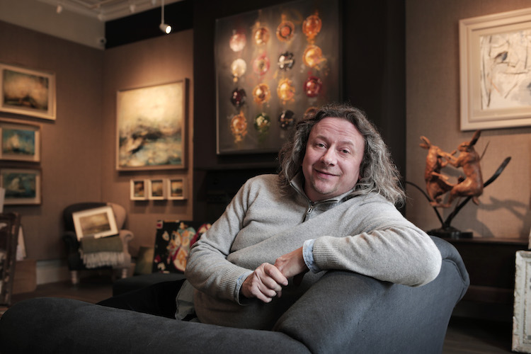 Richard Hindle pictured in his art gallery Gallerina, in Darlington, County Durham. Photograph: Stuart Boulton