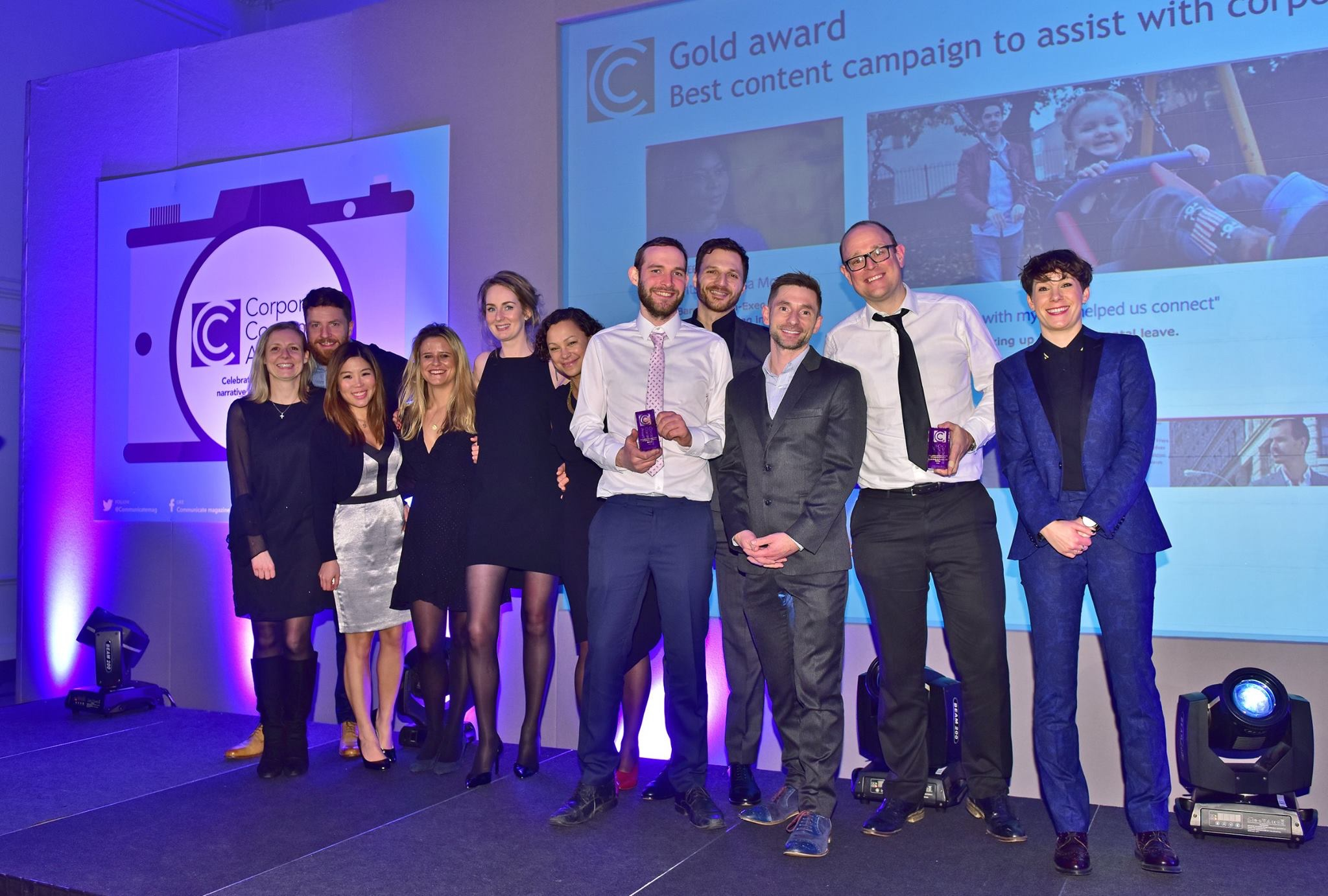 The Speak and Barclays teams were presented the award on stage by comedian Suzi Ruffell