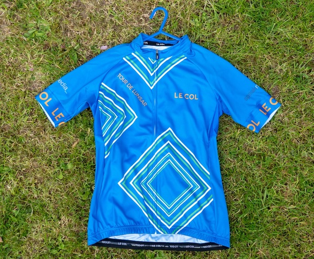 This Speak-sponsored blue cycling jersey was awarded to the winner of the women's race.
