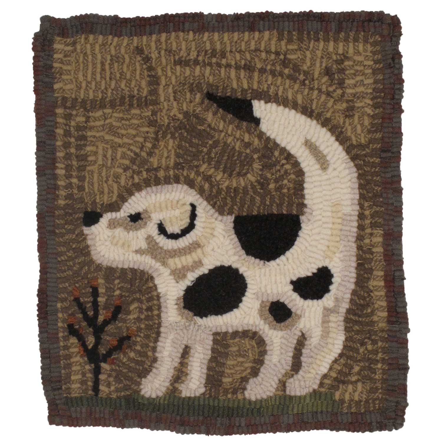 Hooked rug of spotted dog