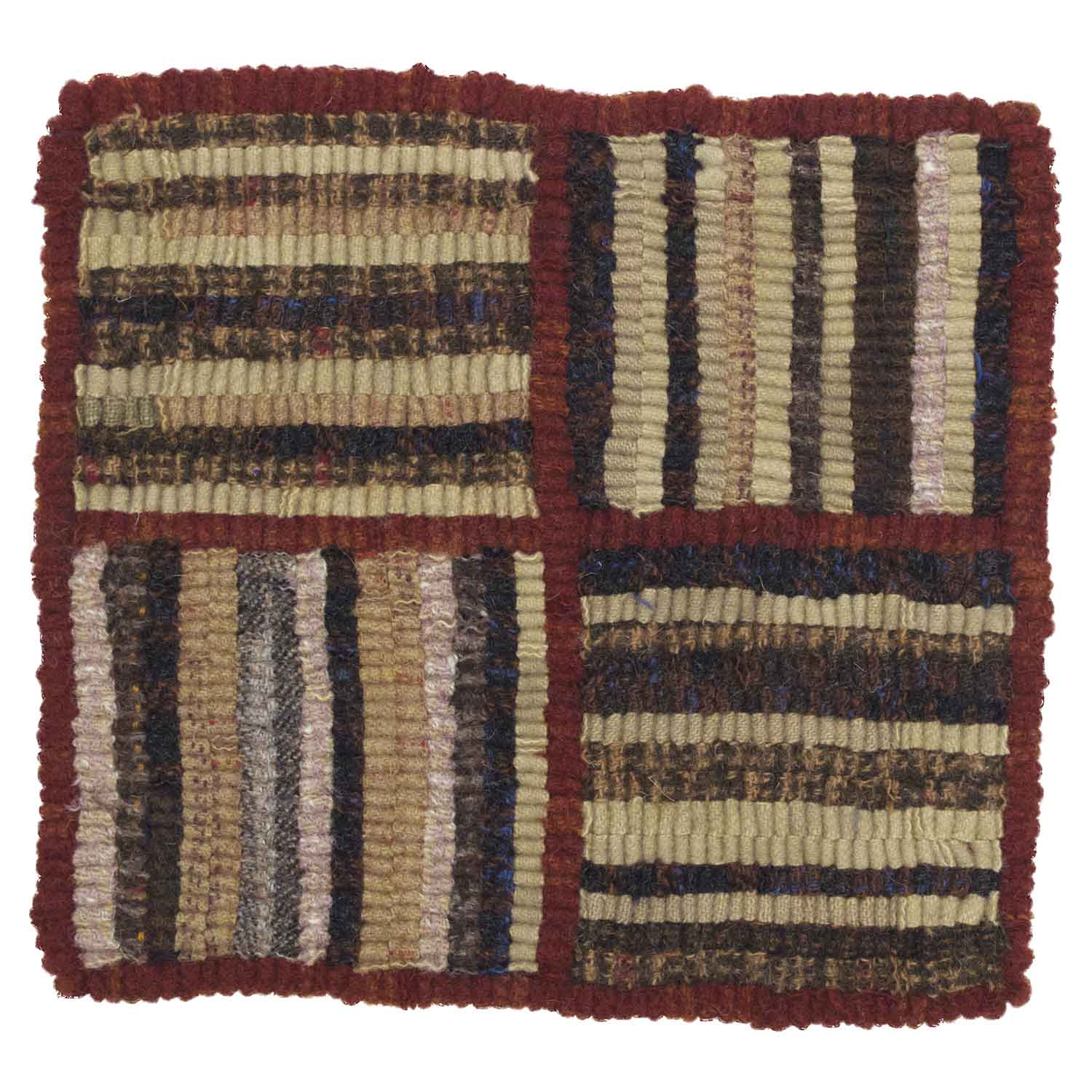 Four Squares Hooked Rug