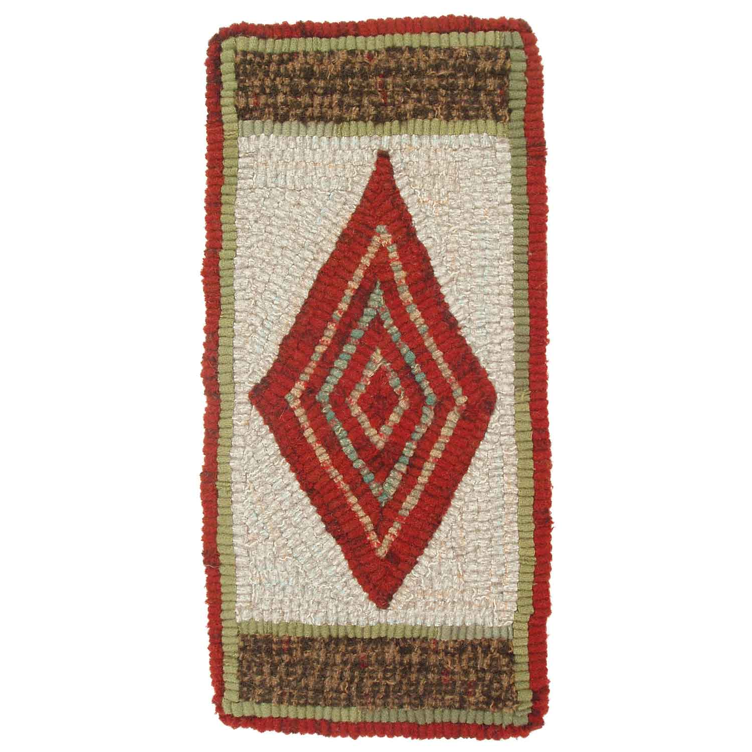 Small Red Diamond Hooked Rug Ornament