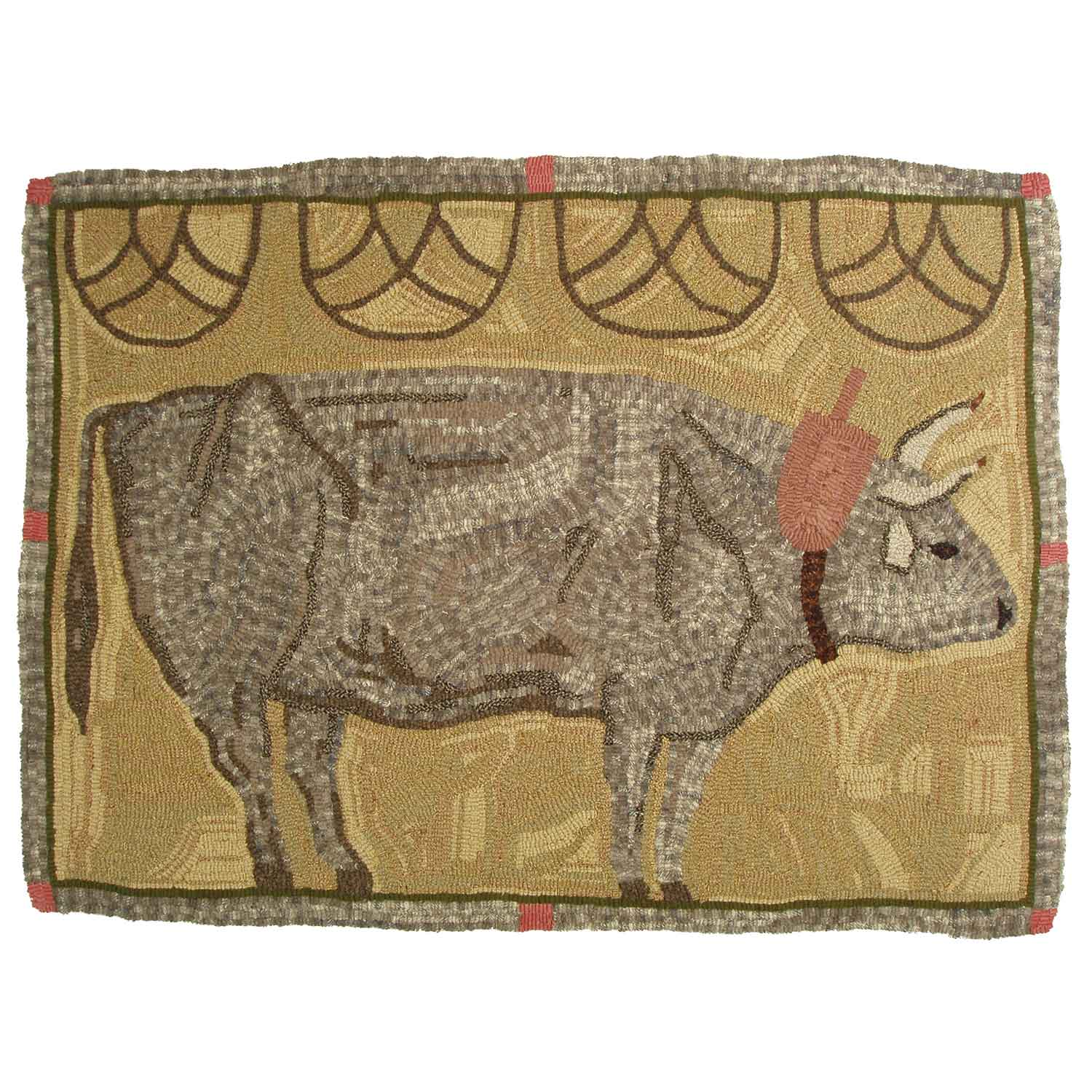 Clem the Ox Hooked Rug