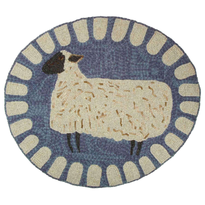 Listening Shropshire Sheep Hooked Rug