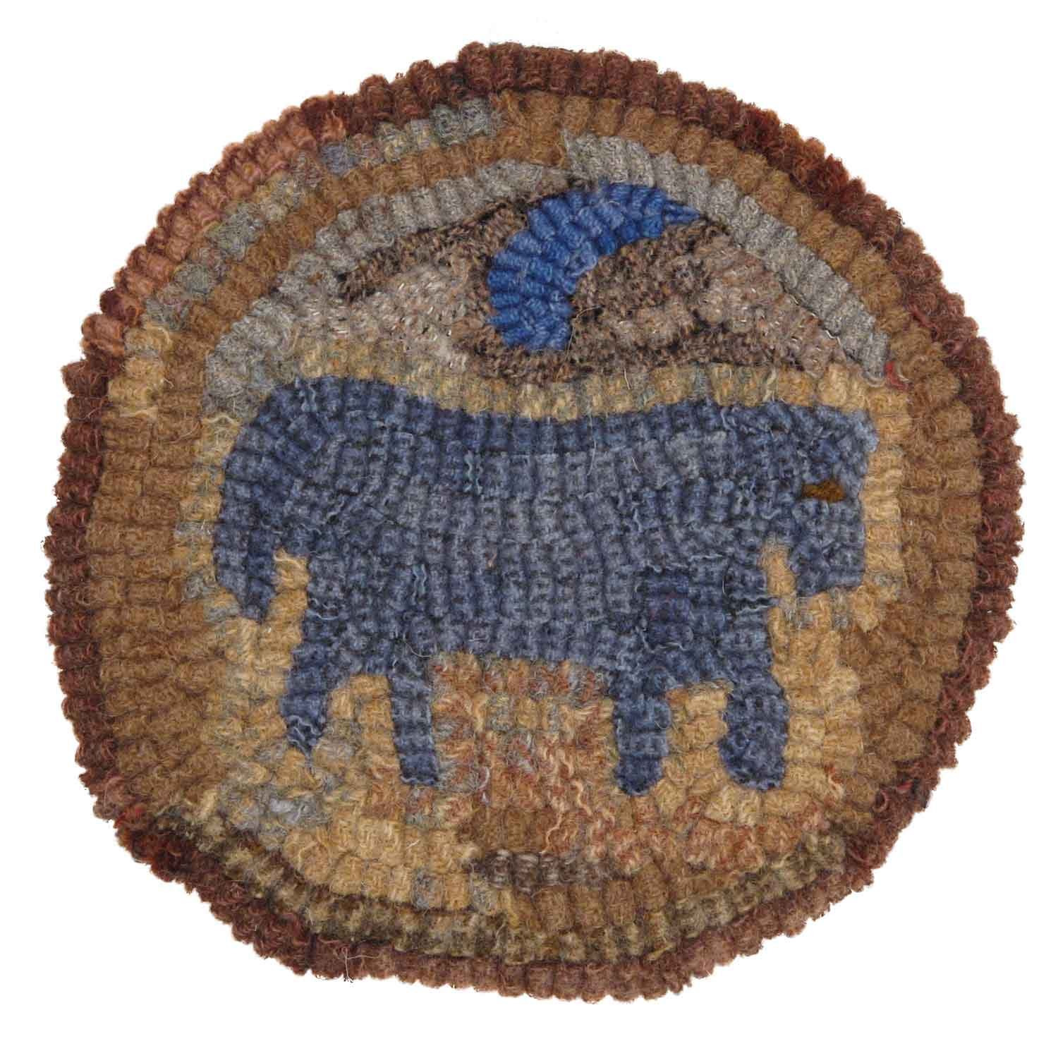 Blue Horse Hooked Rug