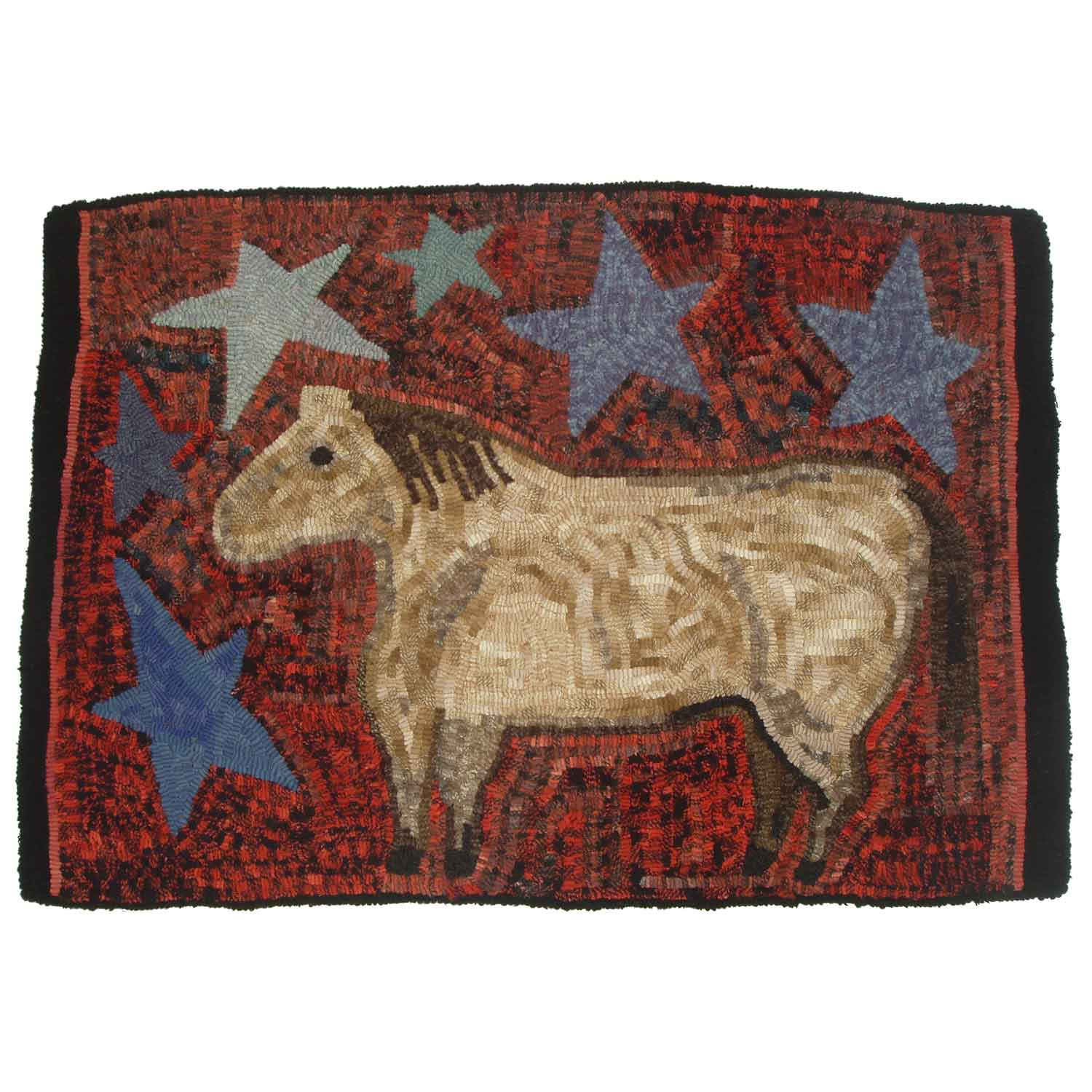 Starry Pony Hooked Rug