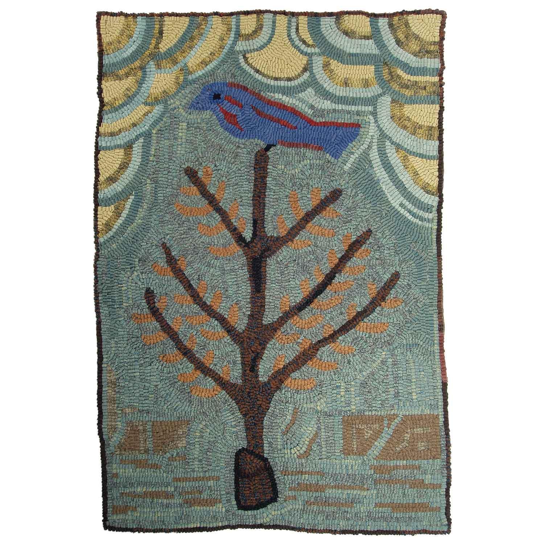 Blue Bird Bush Hooked Rug