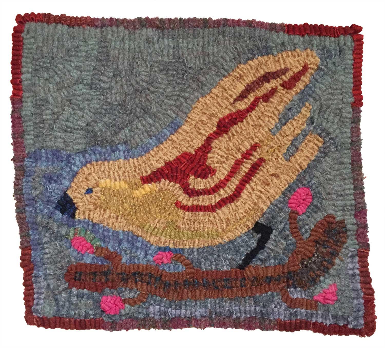 Estelle the Bird Hooked Rug