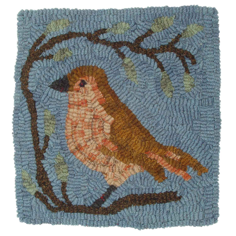 Little Brown Bird Hooked Rug