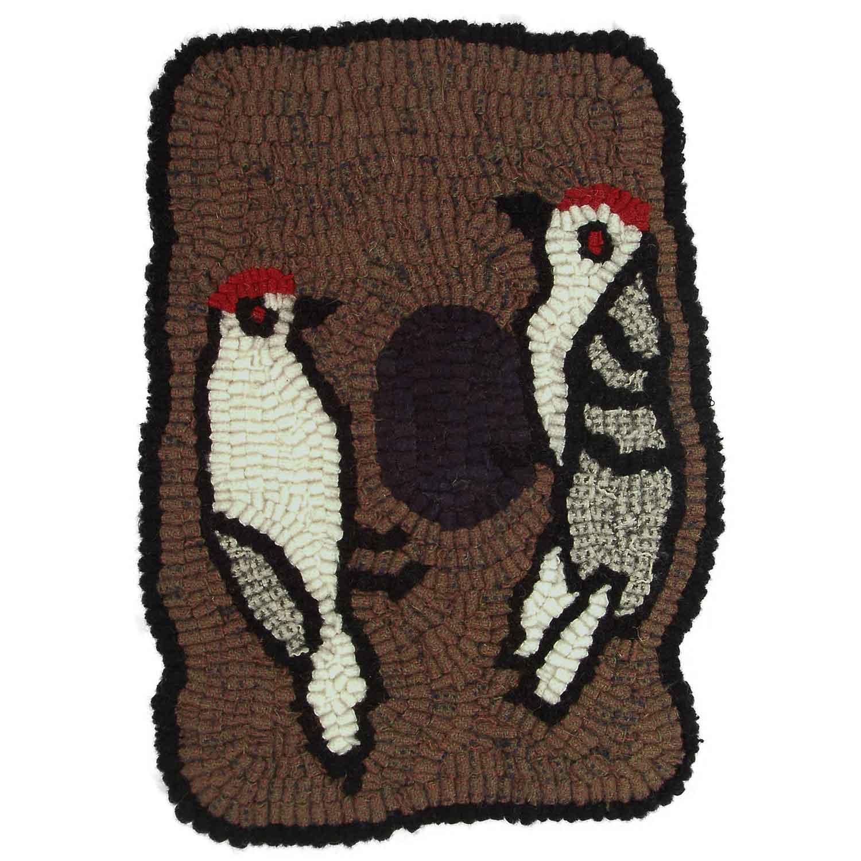 Habitat Woodpeckers Hooked Rug