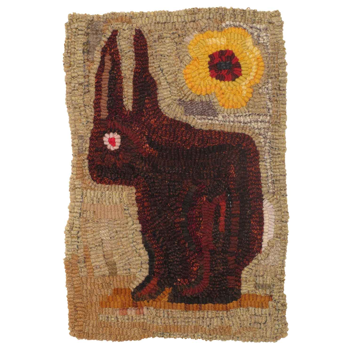 Red Rabbit Hooked Rug