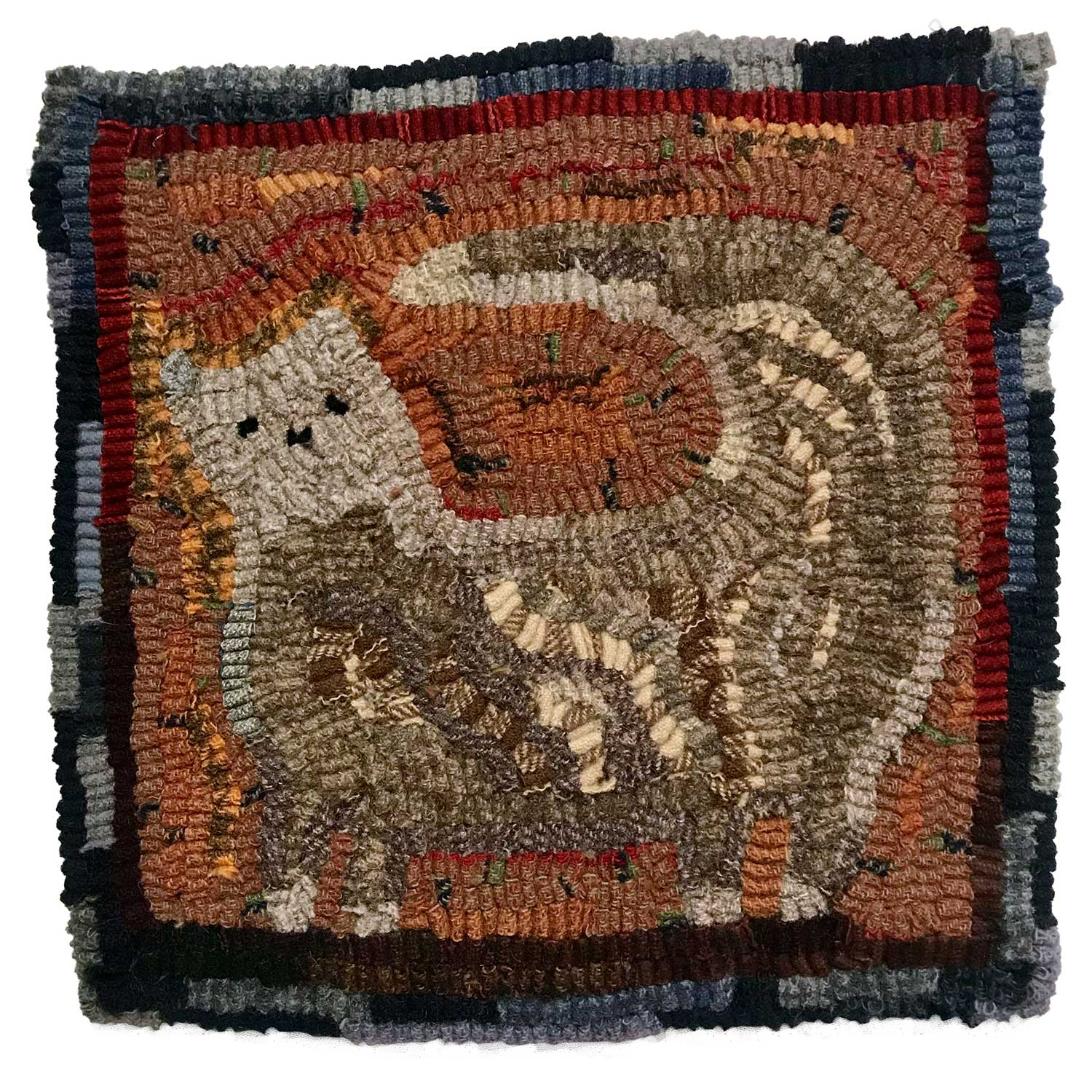 Lucinda the Cat Hooked Rug