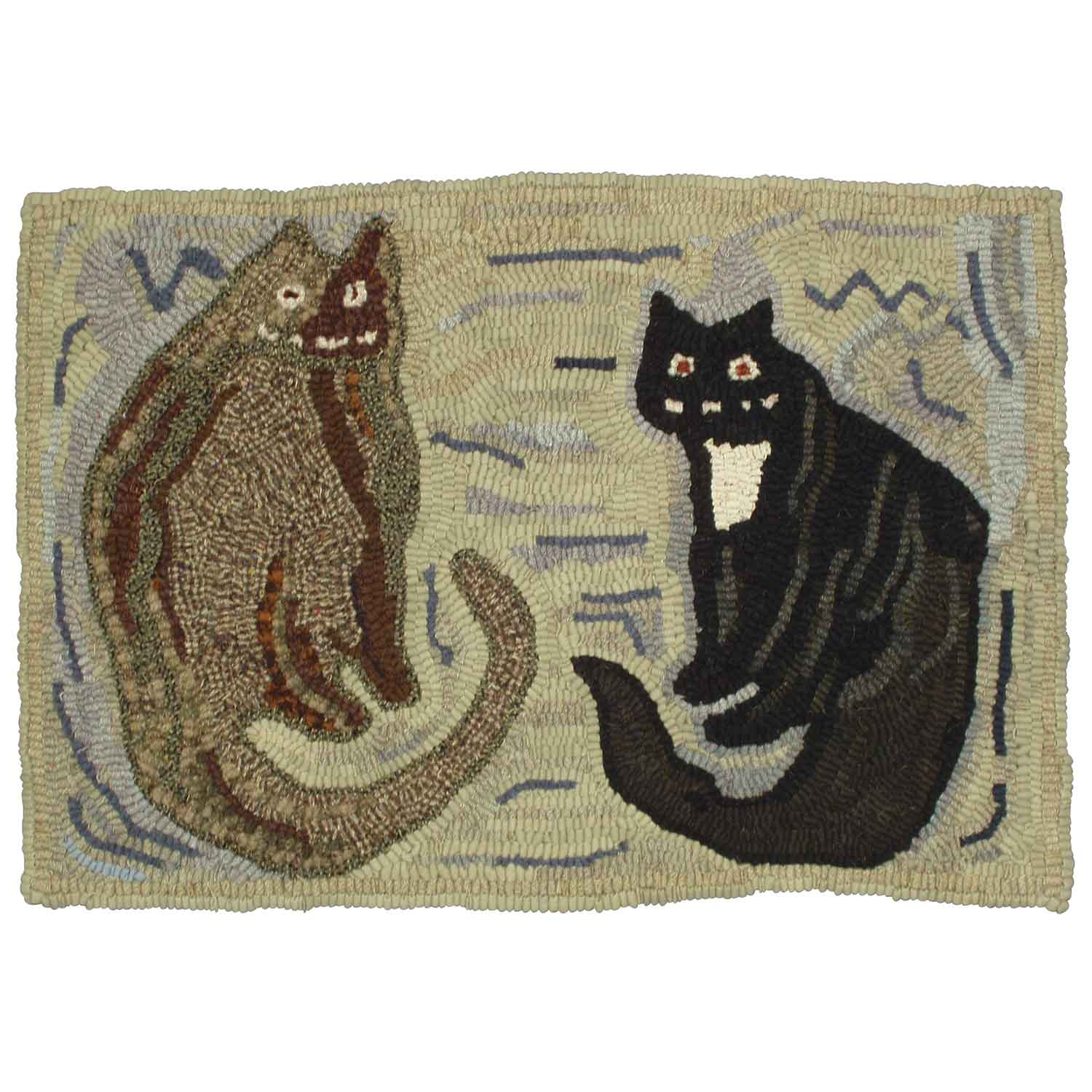 Happy Companions Cat Hooked Rug
