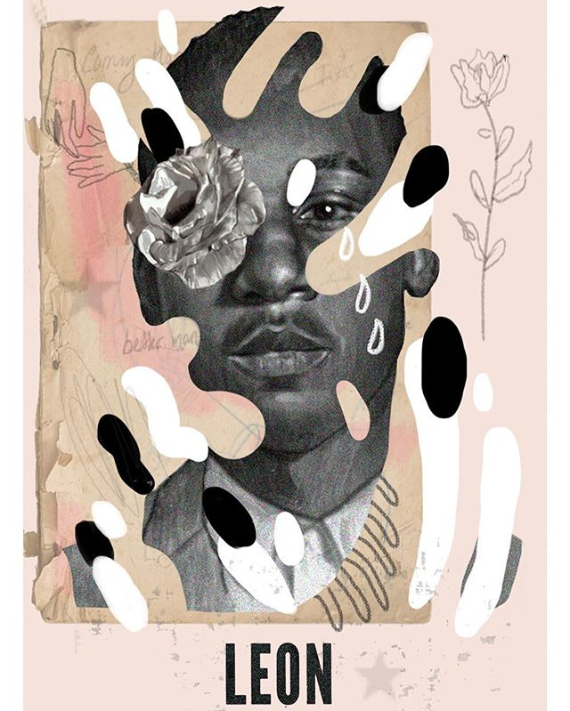 Insta won't let me fit the whole piece 🙁 finished poster for Leon bridges ✨ #illustration #woodblock #print #poster #gig #gigposter #illustrator #photoshop #collage #painting