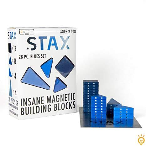 STAX: Insane Magnetic Building Blocks, Ages 8-108, purchase it    here    Looking for the perfect building toy? Look no further than STAX! These insane magnetic building blocks are fun for kids and adults alike and it comes with a magnetic building plate to build and fidget on the go. Check out the wide variety of colors, from blues and greens to pinks and reds.