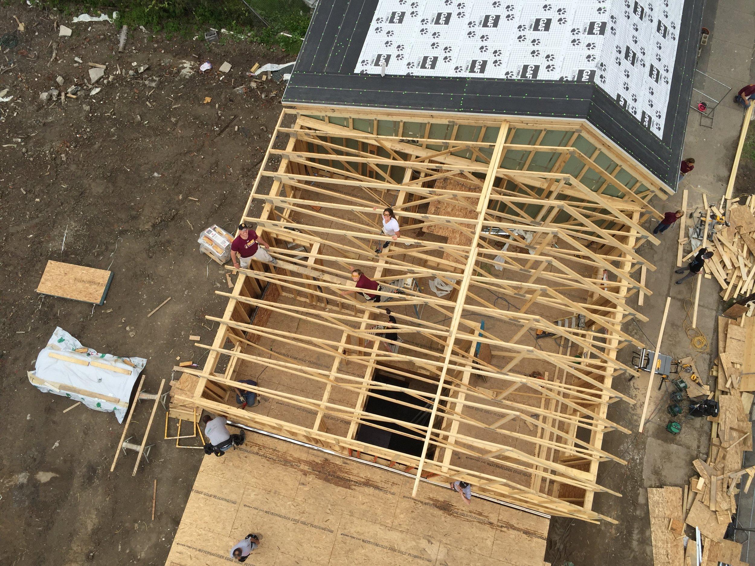 habitat home under construction volunteers