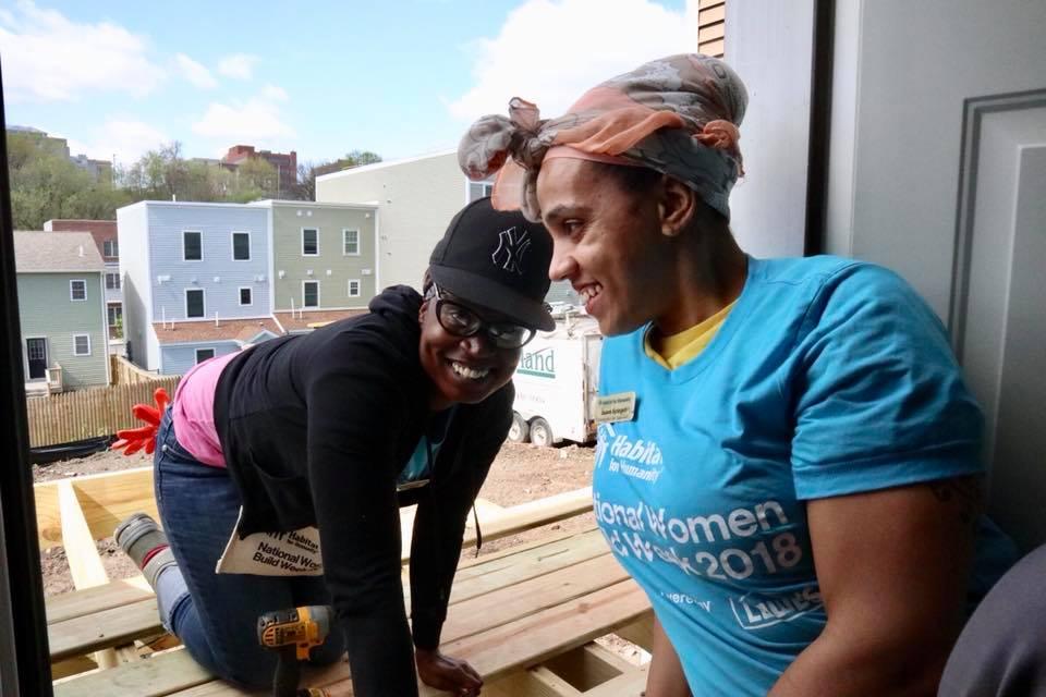 Vanessa with a volunteer, Women Build 2018