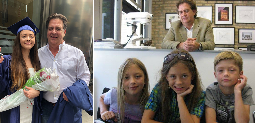 Left : Rick Diarmit and his daughter, Ruby;  Right : Rick and his three beautiful children at the former One Off Hospitality Group office.