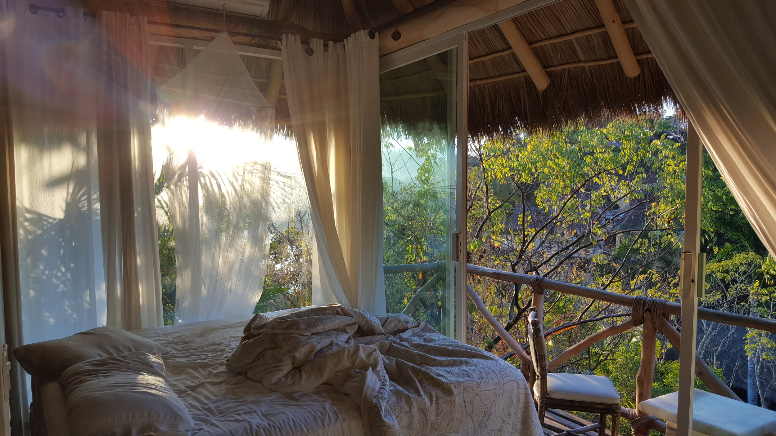 Mornings: Messy Bed, Ocean Breeze and Birds Singing.