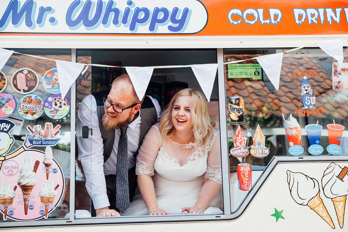 Couple in Ice Cream Van DIY Back Garden Wedding, Newark