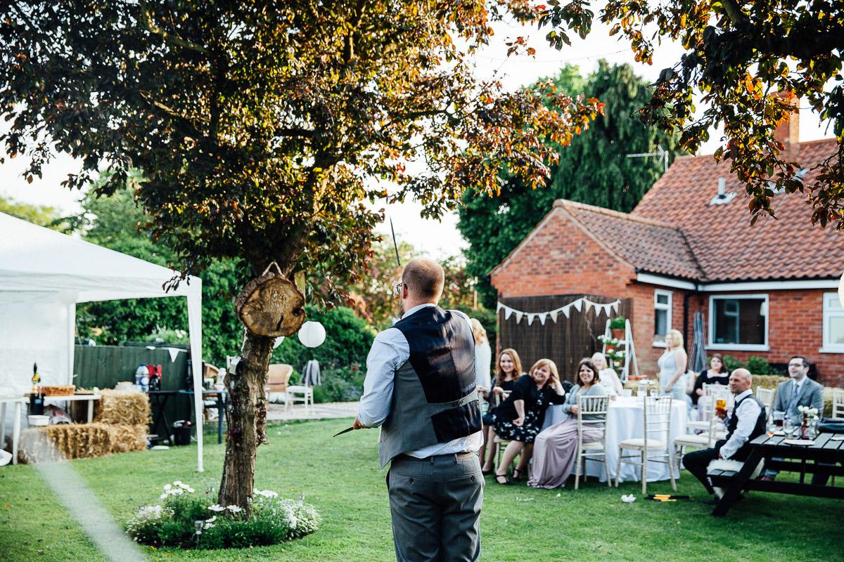 Axe Throwing DIY Back Garden Wedding, Newark