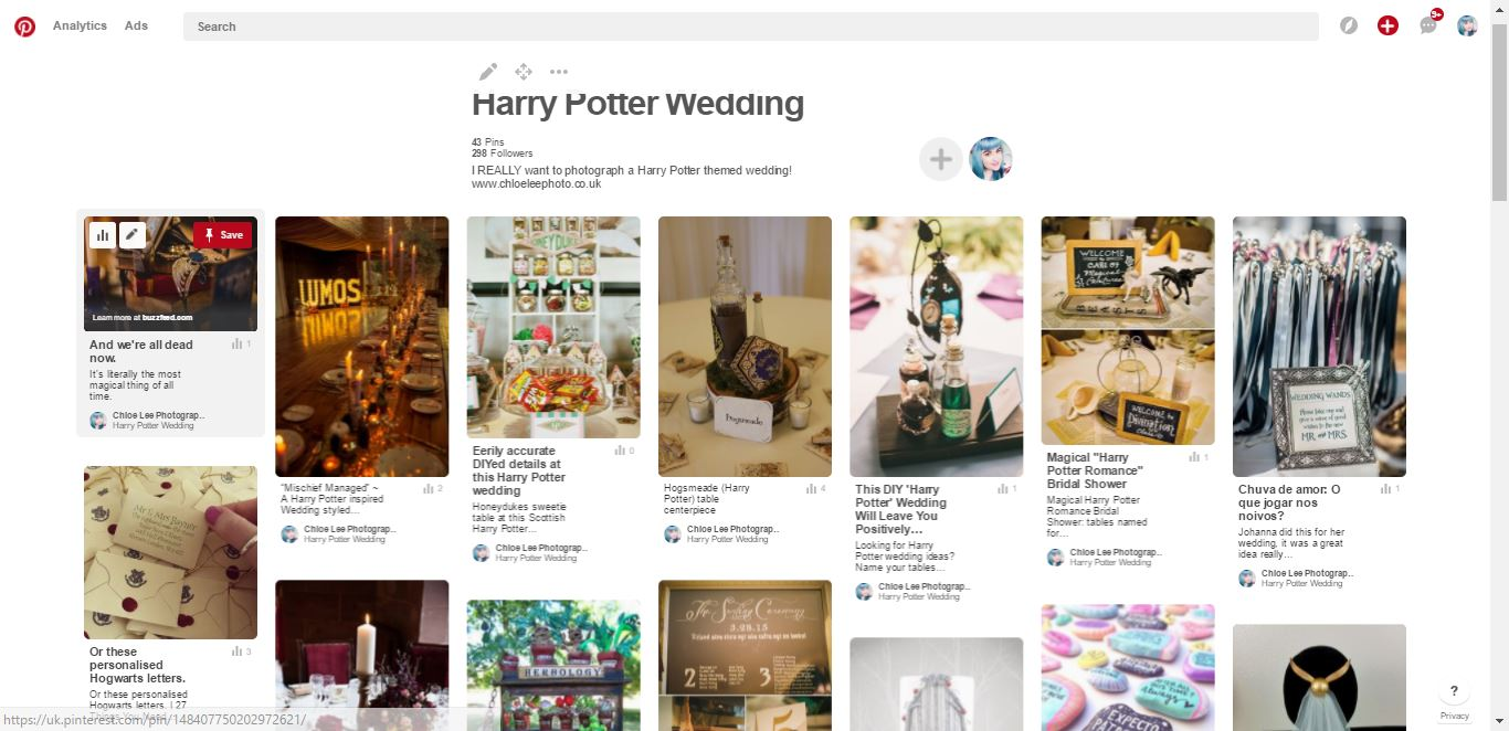 Pros and cons of pinterest for wedding planning - chloe lee photograpjhy harry potter wedding pinterest board