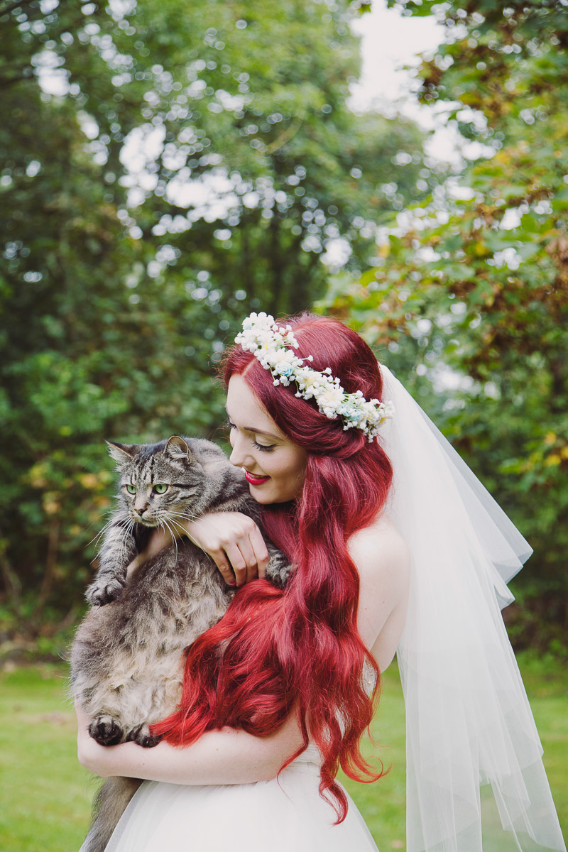 Red Head Bride with Cat - UK Alternative Wedding Photography Chloe Lee Photo