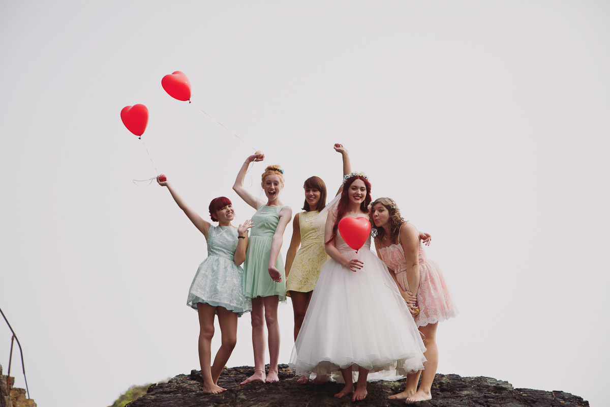 Fun Bridal Portraits Heart Shaped Balloons - UK Alternative Wedding Photography Chloe Lee Photo