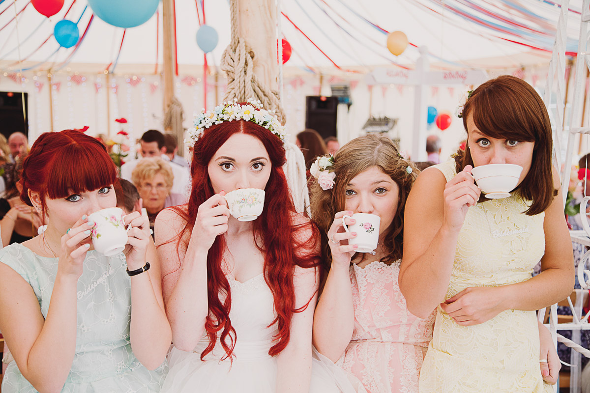Disney Inspired Wedding Bridal Party Teacups - UK Alternative Wedding Photography Chloe Lee Photo