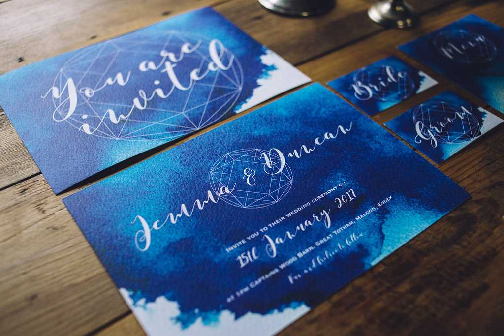 Blue Geometric Wedding Stationary - Captains Wood Barn Essex