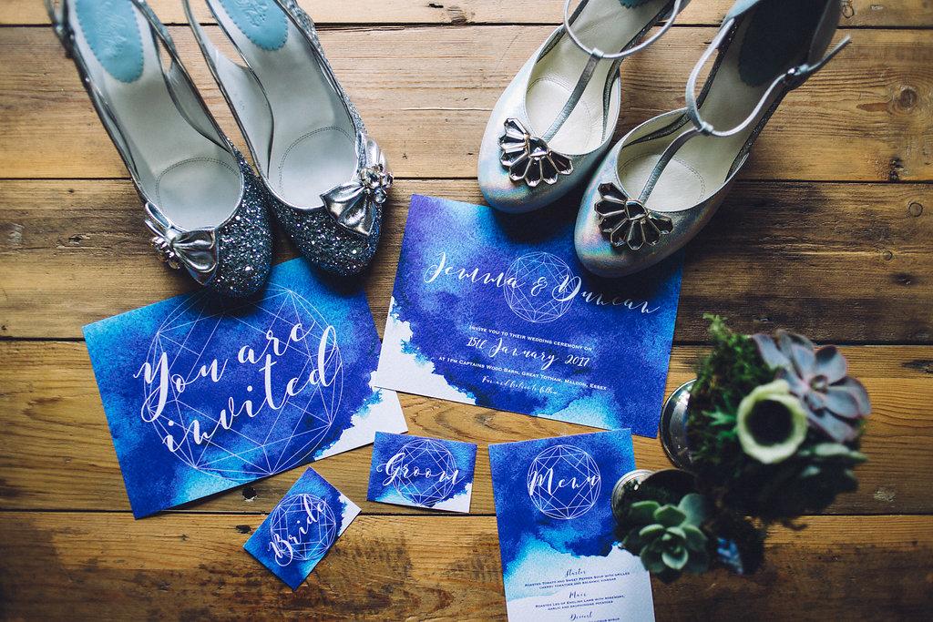 Merle & Morris Shoes Blue Geometric Invites - Captains Wood Barn Essex Photography