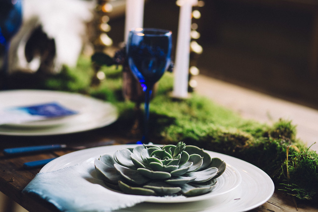 Succulent and Moss Table Setting - Captains Wood Barn