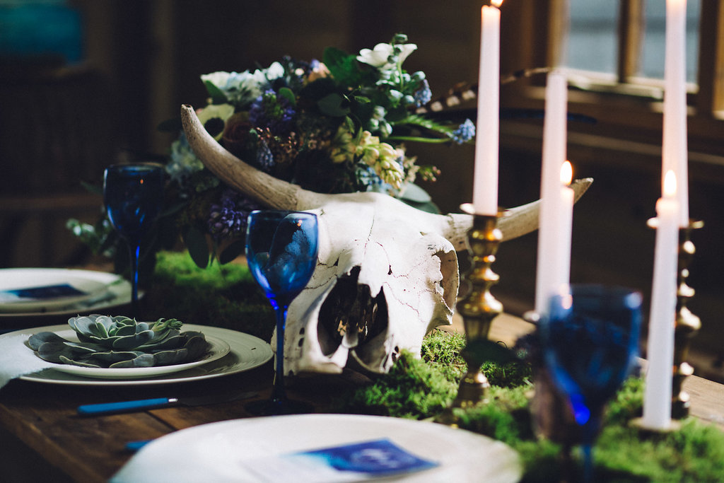 Skull and Moss Rustic Table Setting - Captains Wood Barn Essex