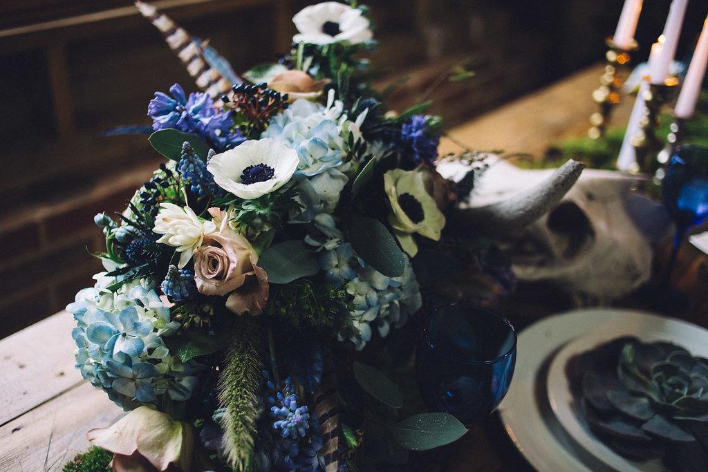 Rustic Skull Floral Table Ideas - Captains Wood Barn Essex