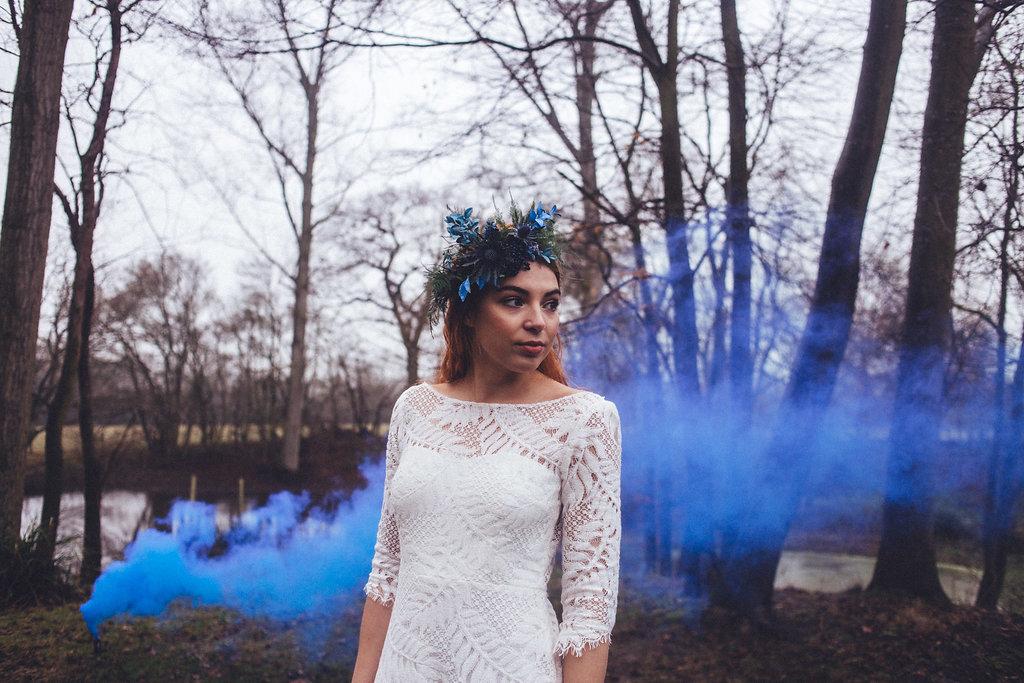 Alternative Bridal Smoke Bombs Rock The Frock - Captains Wood Barn Essex