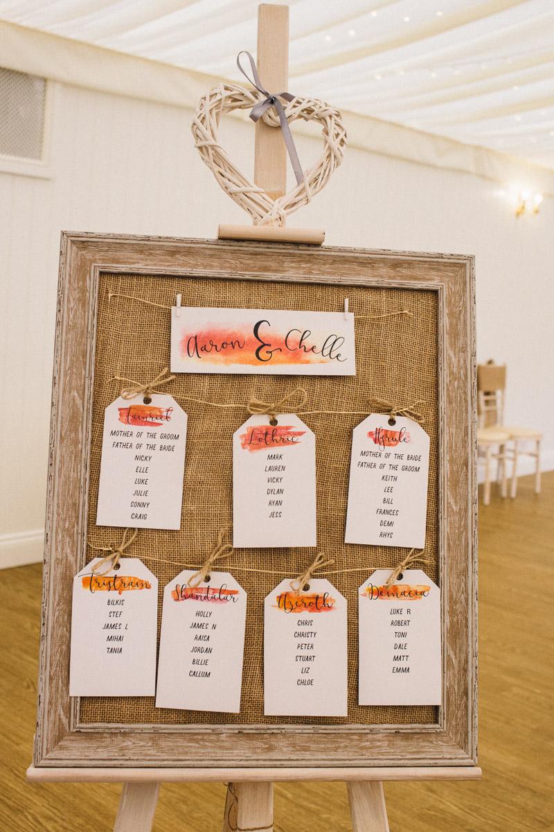 Game Themed Table Plan Rustic Autumnal Wedding Fennes Essex - Alternative Wedding Photography