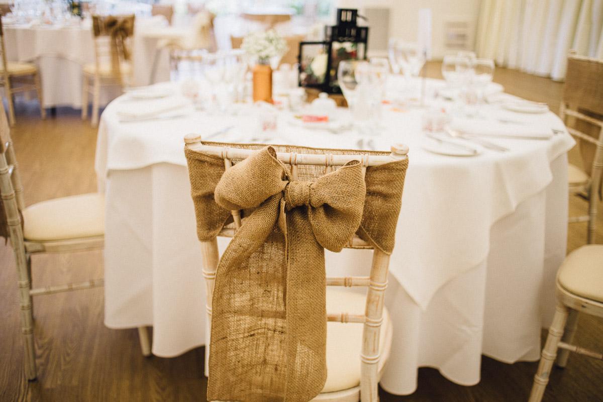 Hessian Chair Bows Rustic Autumnal Wedding Fennes Essex - Alternative Wedding Photography