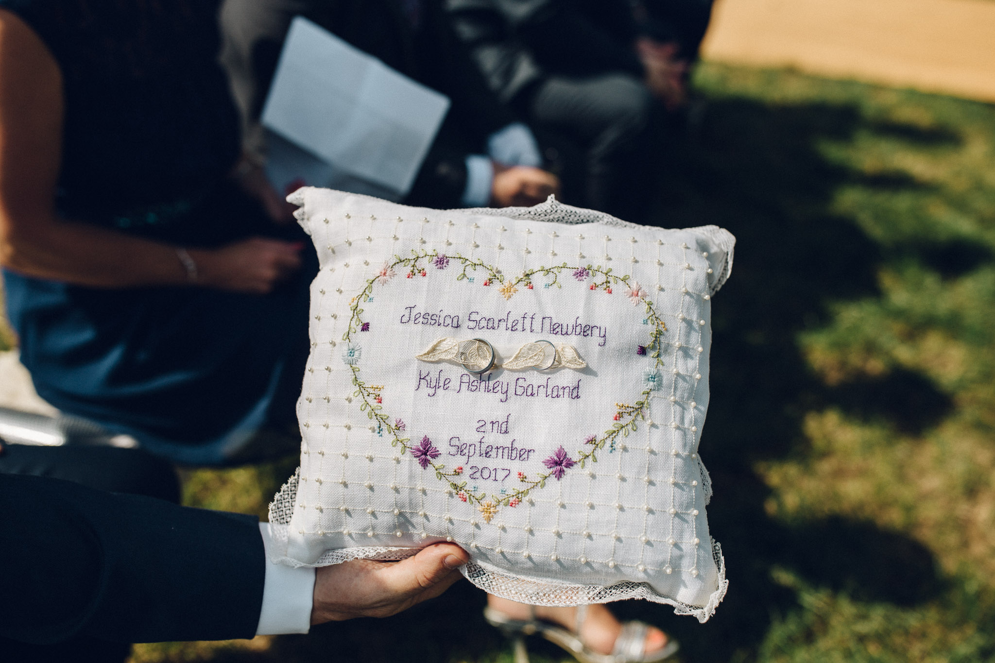 Embroidered ring cushion Alternative Wedding Photography - I Do The Country Wed, Quainton