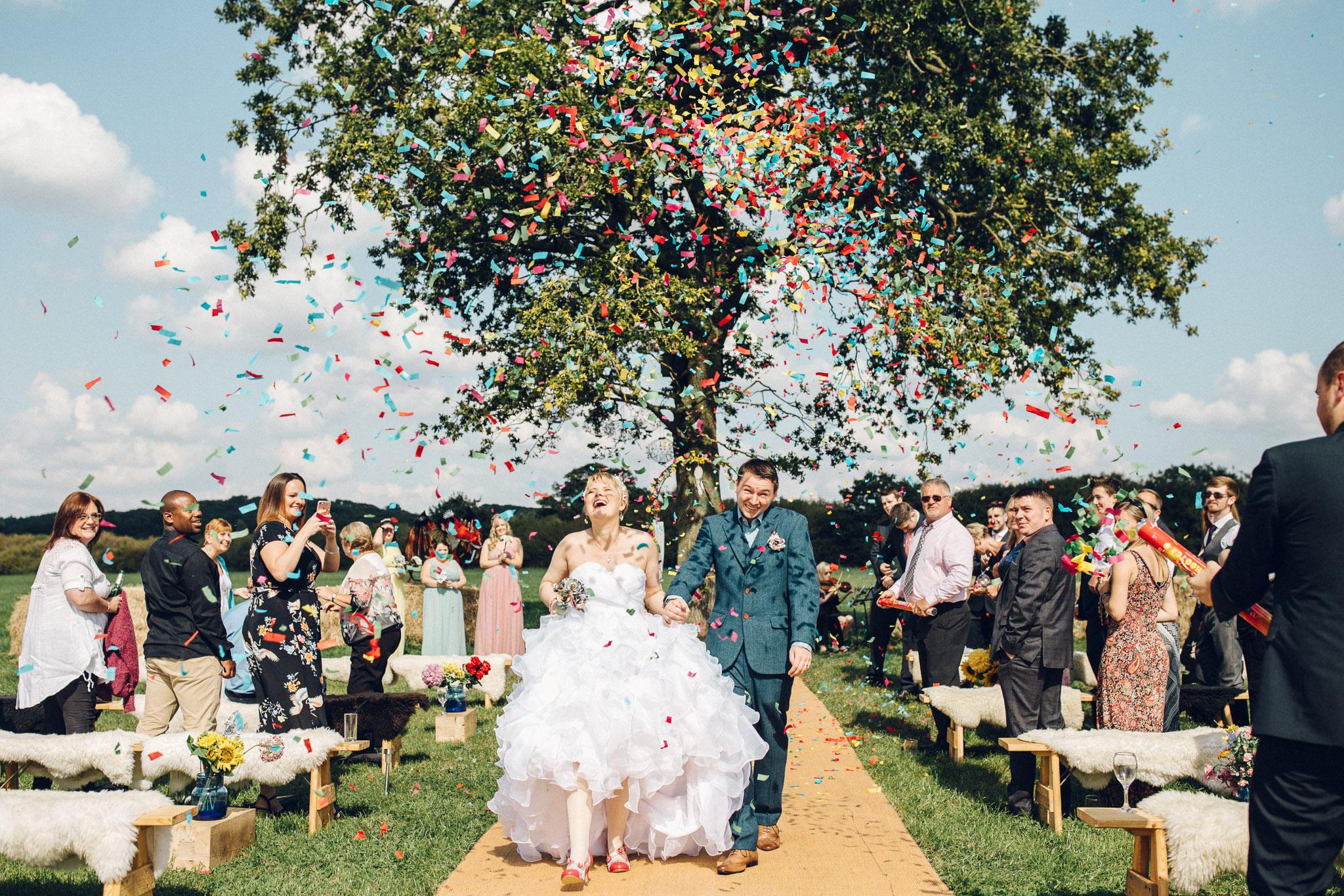 Fun Confetti Canon Alternative Wedding Photography - I Do The Country Wed, Quainton