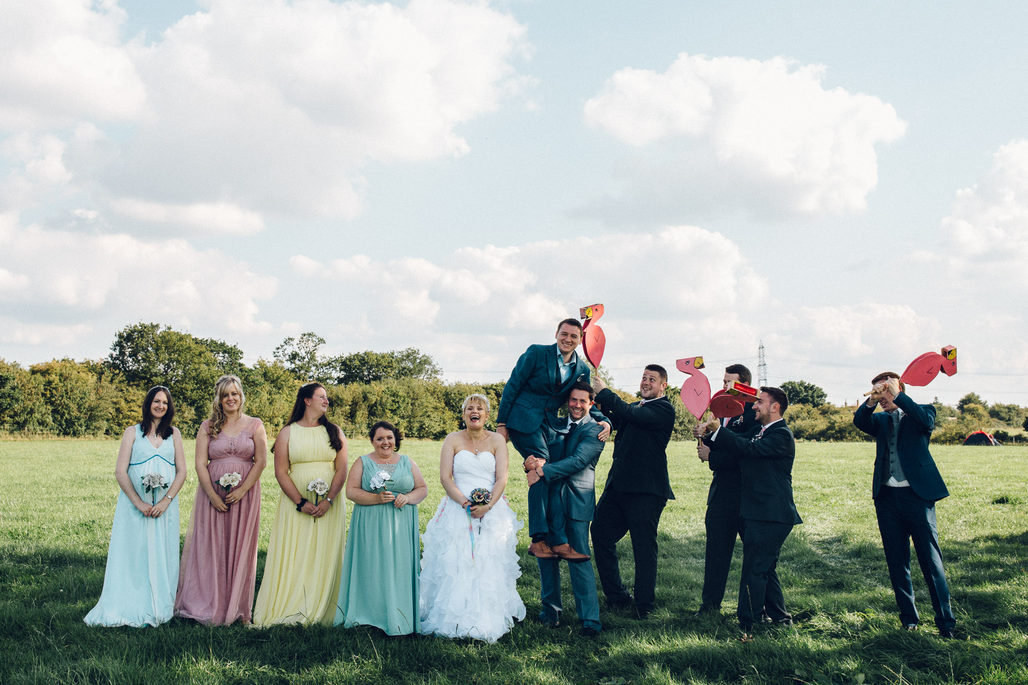 Fun Group Photo Alternative Wedding Photography - I Do The Country Wed, Quainton