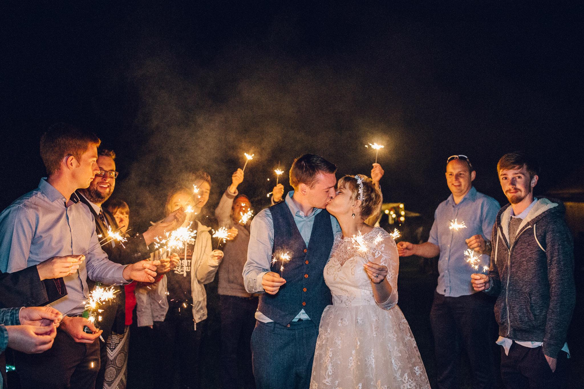 Sparkler Exit Alternative Wedding Photography - I Do The Country Wed, Quainton