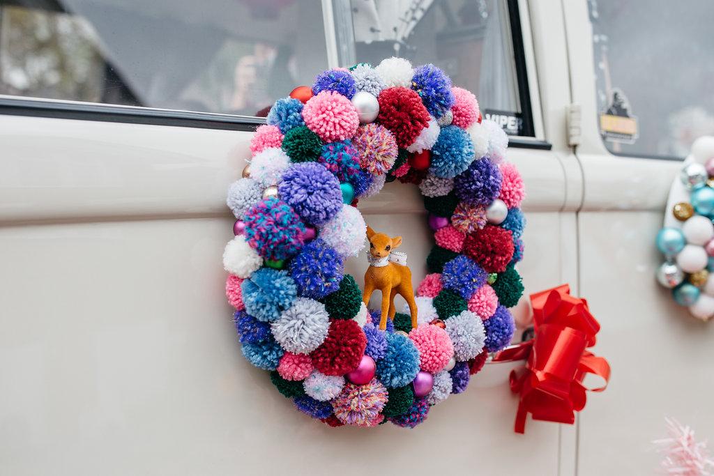 Alternative kitsch christmas styled shoot pom pom wreath mcfayden millinary